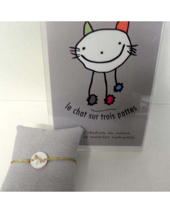 Bracelet Le Chat Sur Trois Pattes Libellule Doree